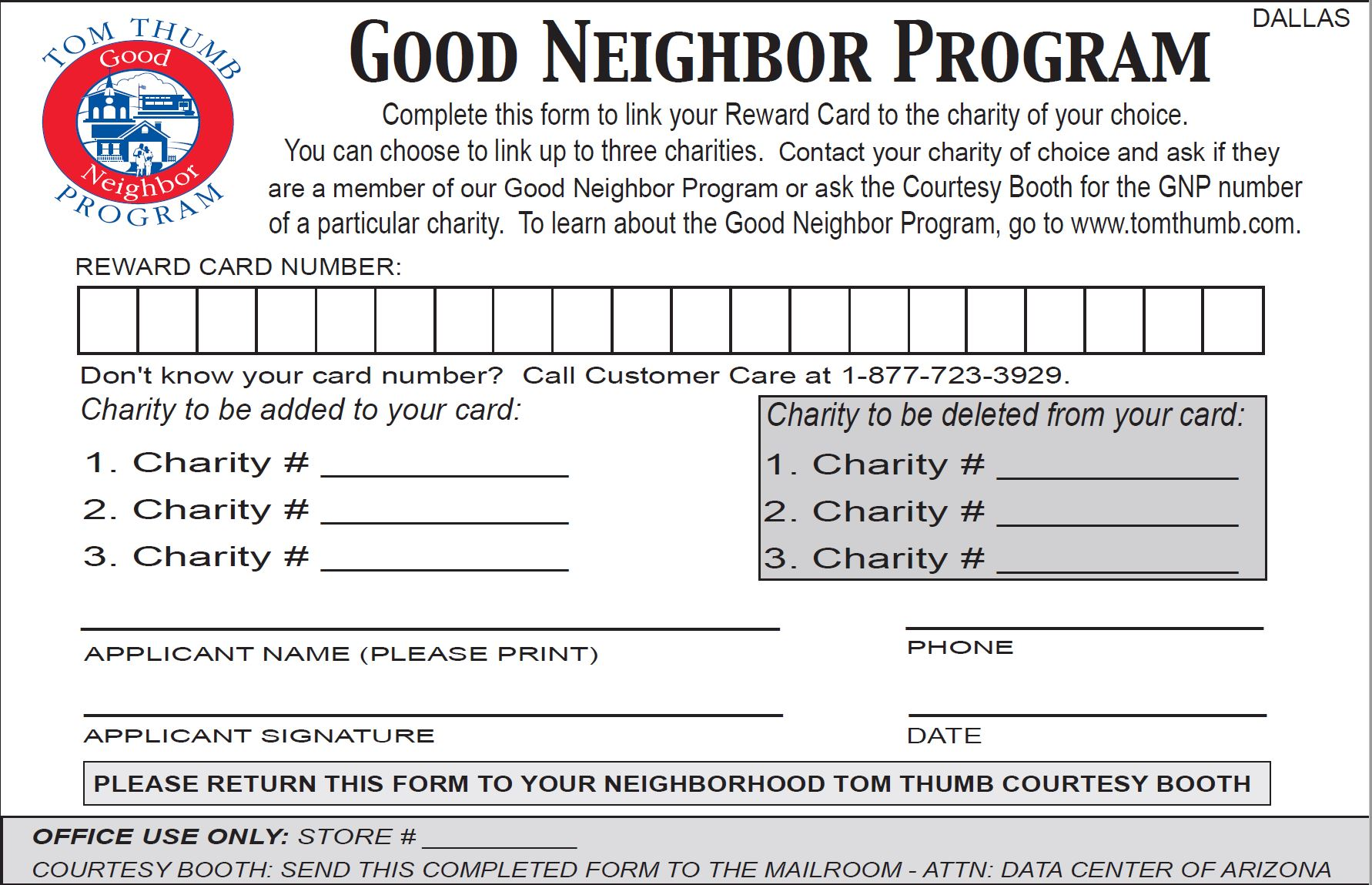 Tom Thumb Good Neighbor Form
